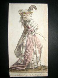 Lady's Magazine 1789 Very Early Hand Col Pre Regency Fashion Print. Paris Dress